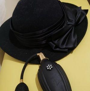 Vintage hat and perfume bottle